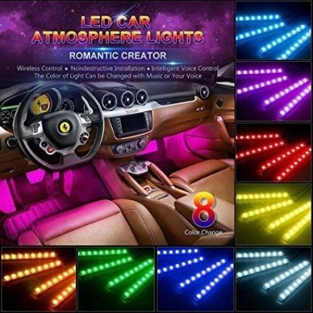 4 бр. светодиодни ленти с 8 цвята и дистанционно за интериорно осветление на купе.