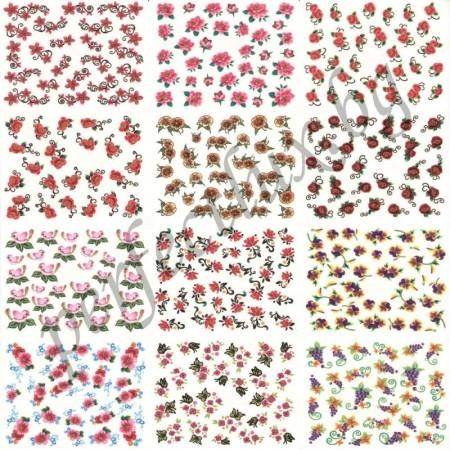 Ваденки за маникюр малки цветя със златист брокат над 300 бр.