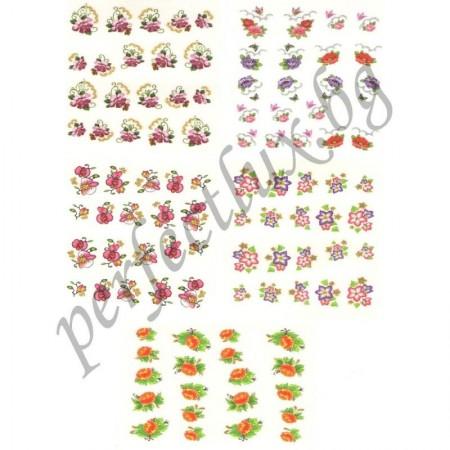Ваденки за маникюр малки цветя с брокат 100 бр.