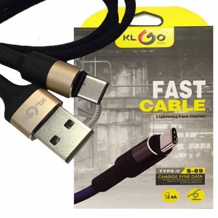 Метален micro USB плосък кабел klGo S-68