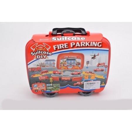 Детски паркинг с коли в куфарче на колелца