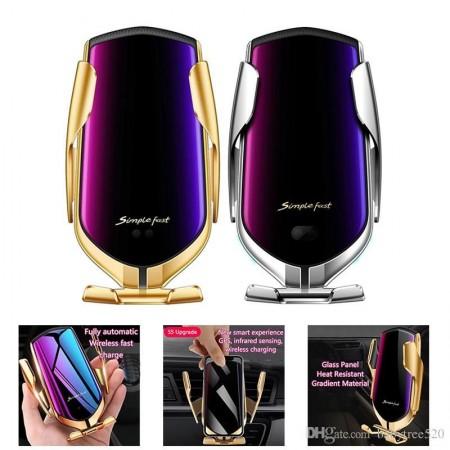2в1 Дизайнерска автоматична стойка за кола Besmart R1 Fast Qi безжично зарядно 10W за мобилен телефон със сензор