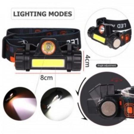 Акумулаторен LED челник фенер за глава, бягане, планина, лов, риболов