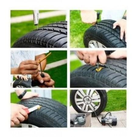 Ремонтен комплект, инструменти, лепило и фитили за поправка на спукани гуми