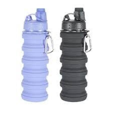 Силиконова бутилка, 600мл. сгъваема за сокове и вода за многократна употреба.