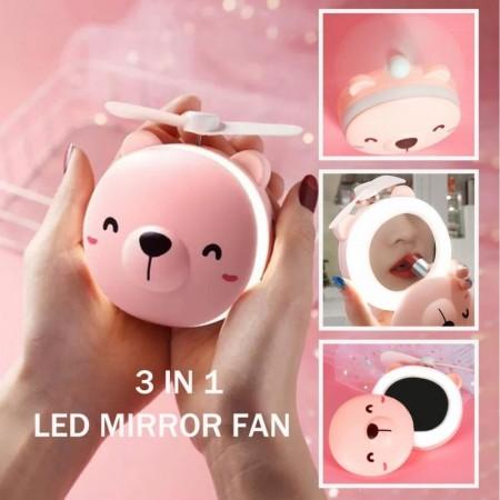Мини вентилатор Коте с огледало и LED лампа