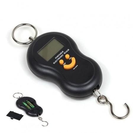 Преносим електронен кантар до 50 кг, ръчен, LCD, Черен
