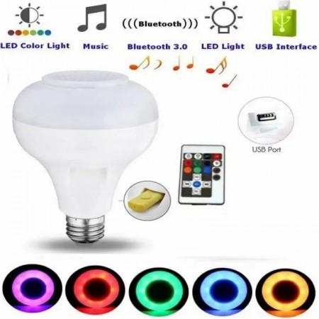 RGB Smart крушка с блутут, USB+Подарък-Фасунга за контакт и флашка