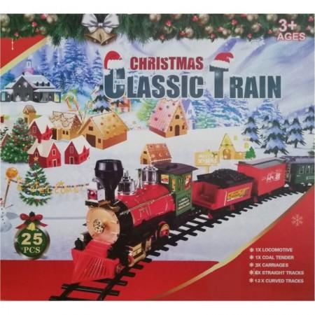 Голям коледен влак на релси със светлина и звук 25 части