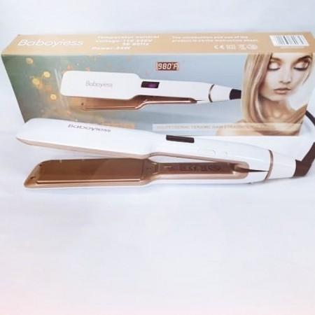 Професионална преса за изправяне на коса с широки плочи с керамични турмалинови плочи с LCD Дисплей BA-080L