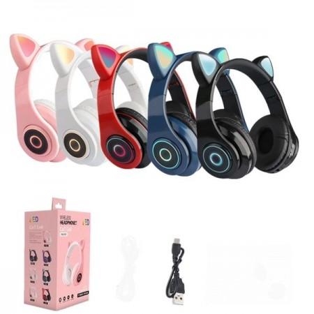 Безжични bluetooth слушалки с котешки уши за деца DW-B39